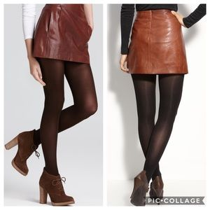 NWT Vince Brown Leather Makes Mini Skirt